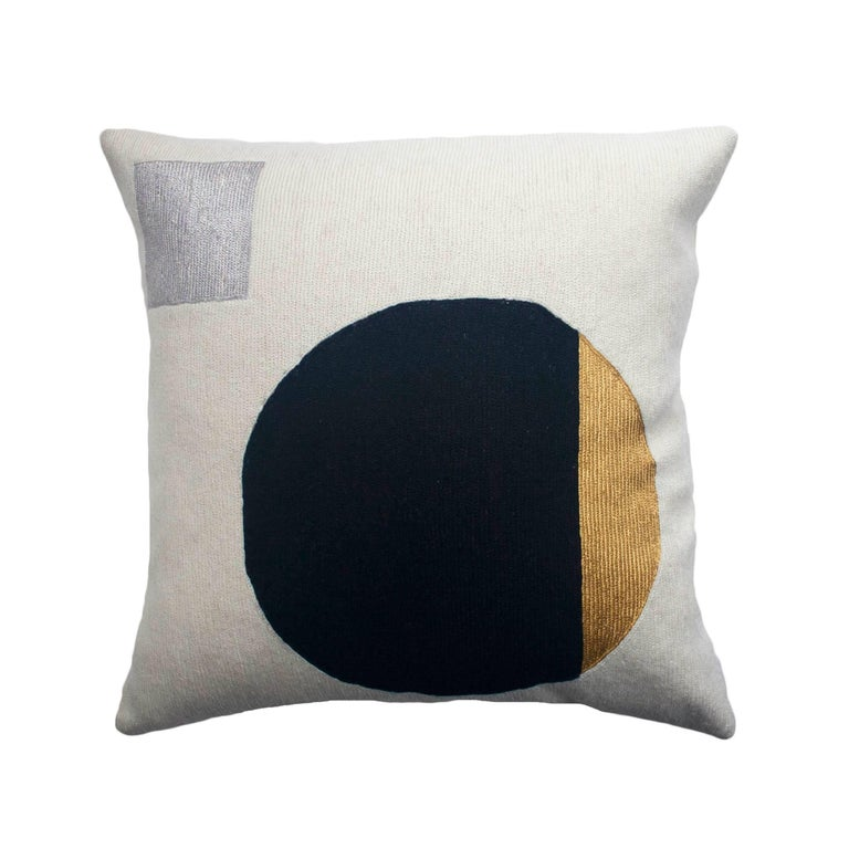 Modern Silver Pillows : Modern Daphne Circle/Silver Hand Embroidered Geometric Wool Throw Pillow Cover For Sale at 1stdibs