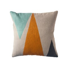 Phoenix Mountain Hand Embroidered Modern Geometric Throw Pillow Cover
