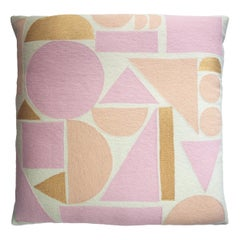 Melanie Peach and Gold Hand Embroidered Modern Geometric Floor Pillow Cover