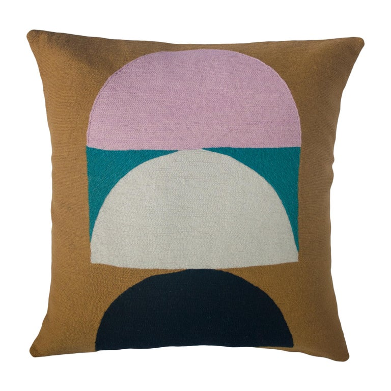 Viola Ochre Hand Embroidered Modern Geometric Throw Pillow Cover For Sale