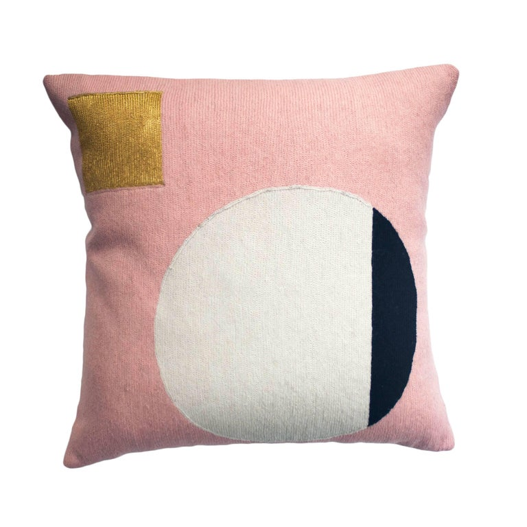 Modern Daphne Circle/Gold Hand Embroidered Geometric Wool Throw Pillow Cover For Sale at 1stdibs