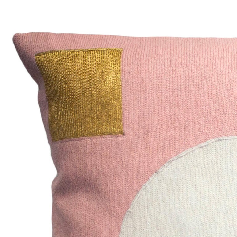 This pillow has been hand embroidered by artisans in Kashmir, India, using a traditional embroidery technique which is native to this region.  The purchase of this handcrafted pillow helps to support the artisans and preserve their craft.  We