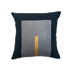 Modern Daphne Square/Gold Hand Embroidered Geometric Wool Throw Pillow Cover