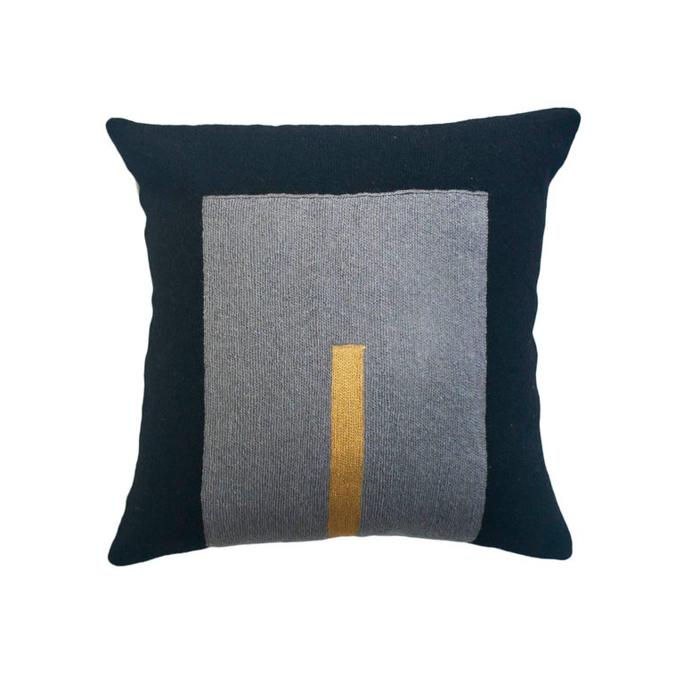 Modern Embroidered Throw Pillow : Modern Daphne Square/Gold Hand Embroidered Geometric Wool Throw Pillow Cover For Sale at 1stdibs
