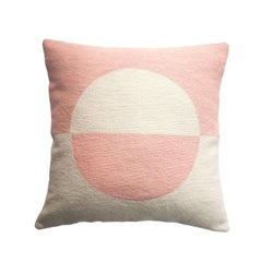 Modern Daphne Circle/Pink Hand Embroidered Geometric Wool Throw Pillow Cover
