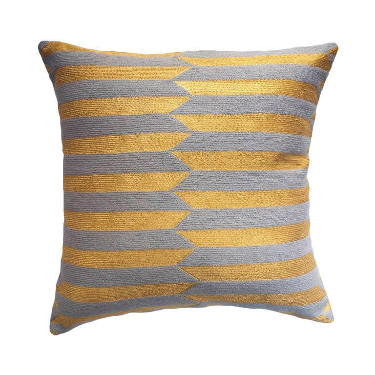 Modern Embroidered Throw Pillow : Modern Nicole Circus Hand Embroidered Striped Grey and Metallic Throw Pillow Cover For Sale at ...
