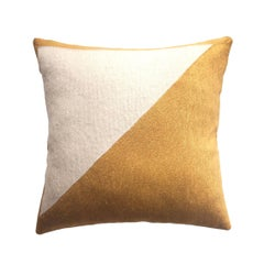 Modern Nicole Gold Hand Embroidered Geometric and Metallic Throw Pillow Cover