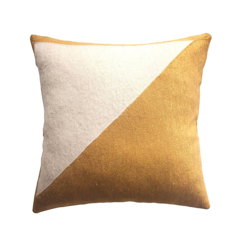 Modern Gold Pillows : Modern Nicole Gold Hand Embroidered Geometric and Metallic Throw Pillow Cover For Sale at 1stdibs