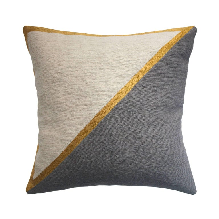 Modern Embroidered Throw Pillow : Modern Nicole Grey Hand Embroidered Geometric and Metallic Throw Pillow Cover For Sale at 1stdibs