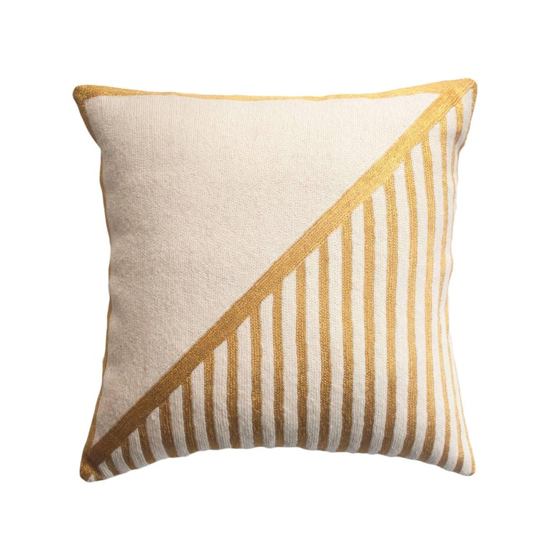 Modern Nicole Striped Hand Embroidered Geometric and Gold Throw Pillow Cover at 1stdibs