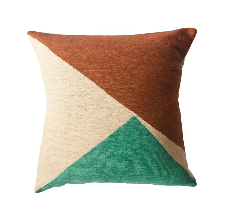 Modern Embroidered Throw Pillow : Bar Colorado Hand Embroidered Modern Geometric Throw Pillow Cover at 1stdibs