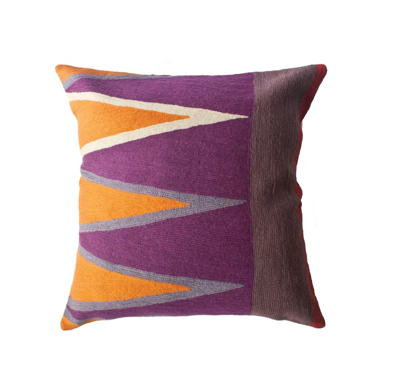 Bar Tarek Hand Embroidered Modern Geometric Throw Pillow Cover For Sale