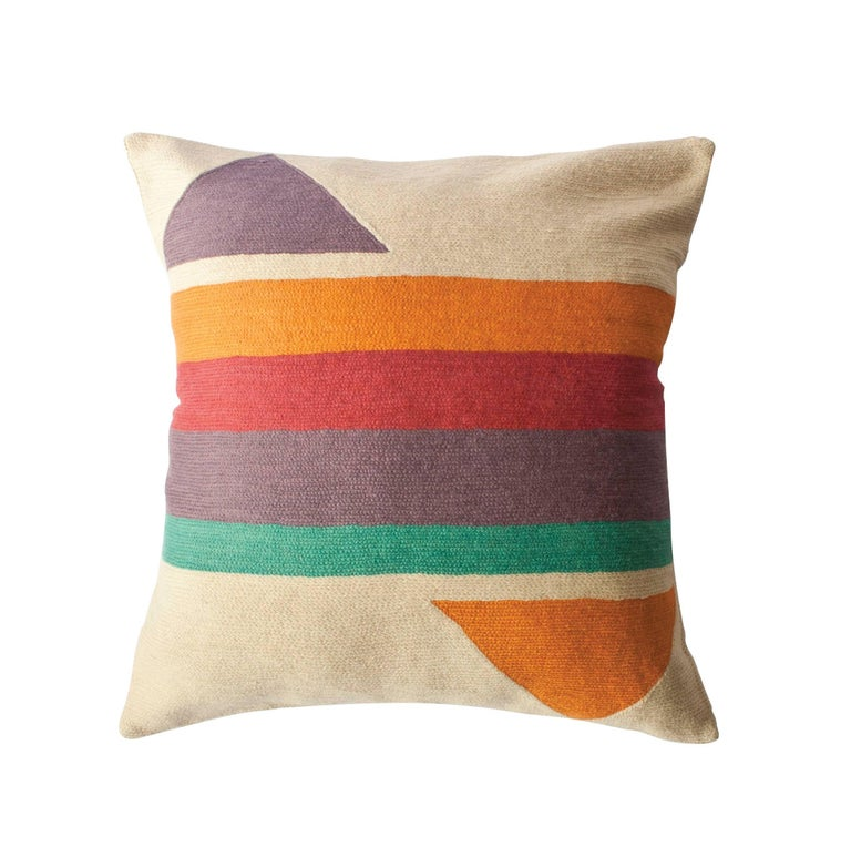 Modern Embroidered Throw Pillow : Bar Technicolor Hand Embroidered Retro Modern Throw Pillow Cover For Sale at 1stdibs