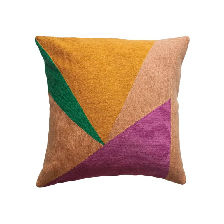 Modern Embroidered Throw Pillow : Modern Renzo Triangles Hand Embroidered Geometric Throw Pillow Cover For Sale at 1stdibs
