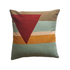 Retro Modern Renzo Stripes Hand Embroidered Geometric Throw Pillow Cover