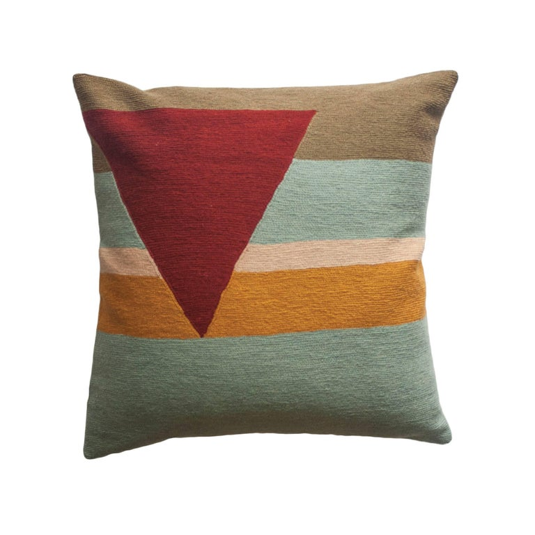 Retro Modern Renzo Stripes Hand Embroidered Geometric Throw Pillow Cover For Sale