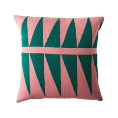 Tropical Palm Springs Emerald Hand Embroidered Modern Throw Pillow Cover