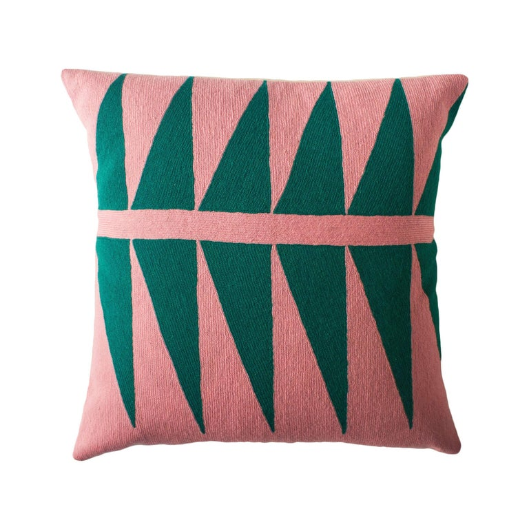 Tropical Palm Springs Emerald Hand Embroidered Modern Throw Pillow Cover For Sale