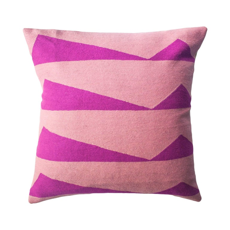 Modern Embroidered Throw Pillow : Tropical Palm Springs Hot Pink Hand Embroidered Modern Throw Pillow Cover For Sale at 1stdibs