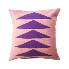 Tropical Palm Springs Purple Hand Embroidered Modern Throw Pillow Cover