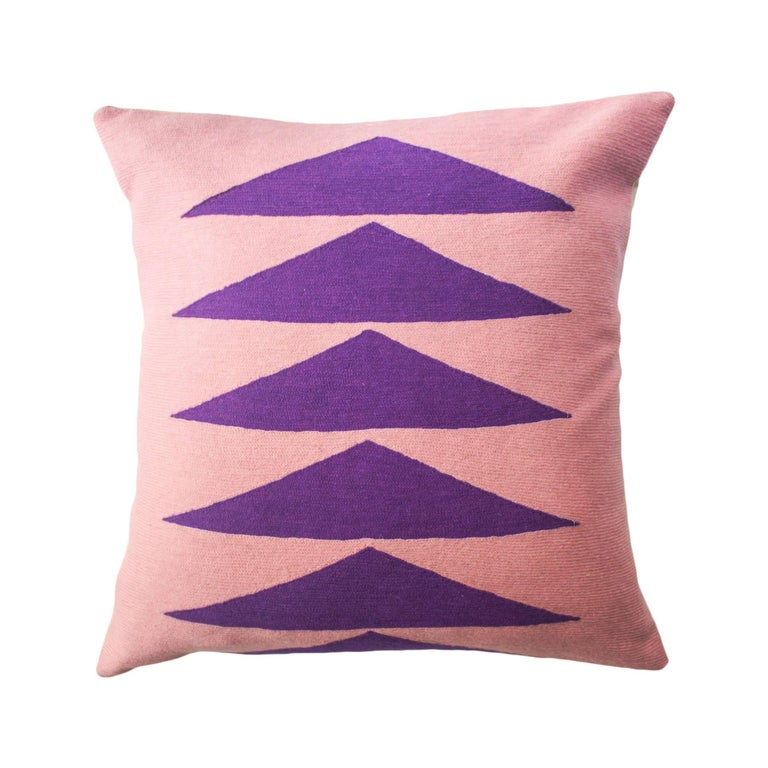 Modern Embroidered Throw Pillow : Tropical Palm Springs Purple Hand Embroidered Modern Throw Pillow Cover For Sale at 1stdibs