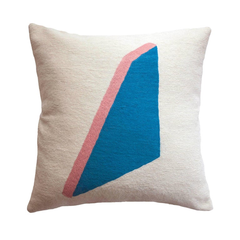 Whitney Shape Modern Hand Embroidered Geometric Throw Pillow Cover For Sale at 1stdibs