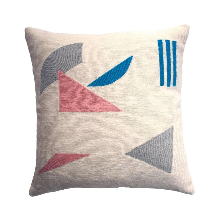 Modern Embroidered Throw Pillow : Whitney Pieces Modern Hand Embroidered Geometric Throw Pillow Cover For Sale at 1stdibs