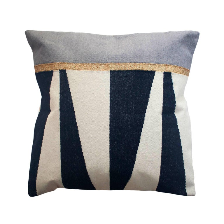 Modern Pillows And Throws : Geometric Jordan Black and White Modern Throw Pillow Cover For Sale at 1stdibs