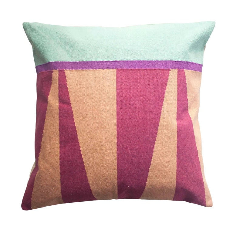 Modern Pillows And Throws : Geometric Jordan Pink Modern Throw Pillow Cover For Sale at 1stdibs