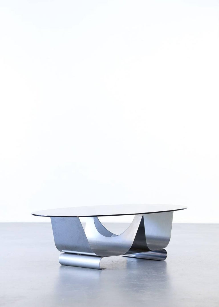 Coffee Table Francois Monnet for Kappa, 1970 Oval Glass and Steel In Good Condition For Sale In Lyon, FR