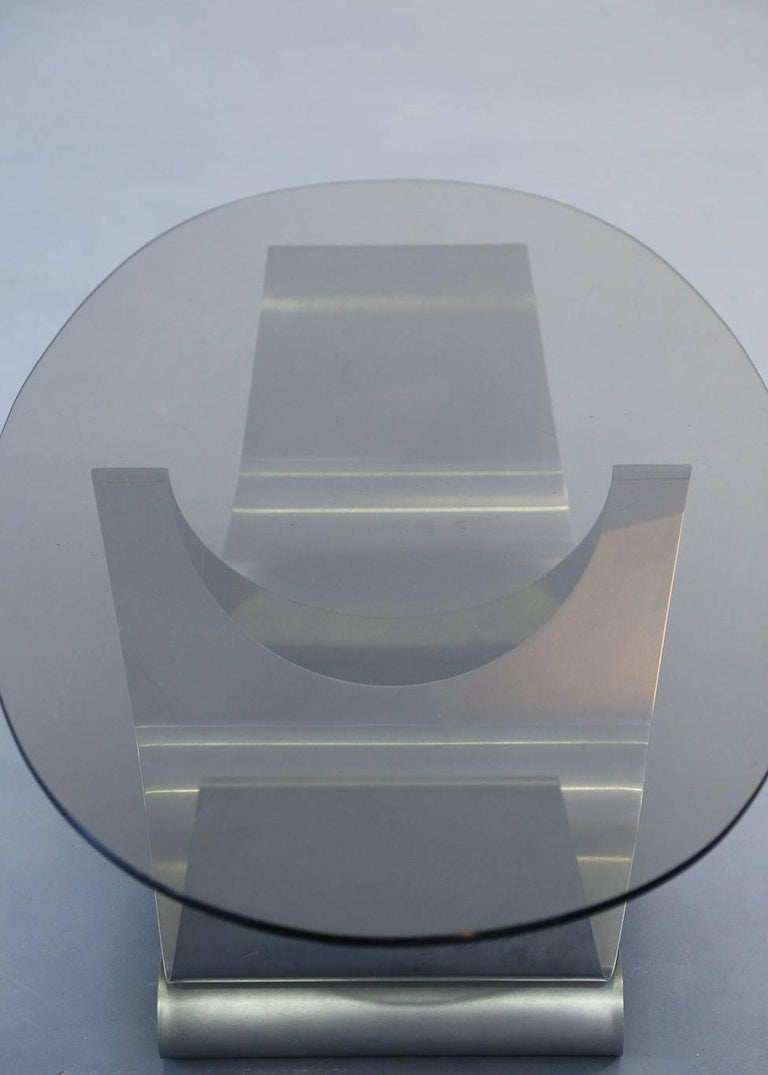 Coffee Table Francois Monnet for Kappa, 1970 Oval Glass and Steel For Sale 1