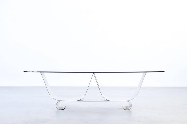 Coffee Table Francois Monnet for Kappa, 1970 Oval Glass and Steel For Sale 3