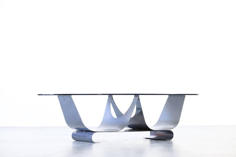 French Coffee Table Francois Monnet for Kappa, 1970 Oval Glass and Steel For Sale