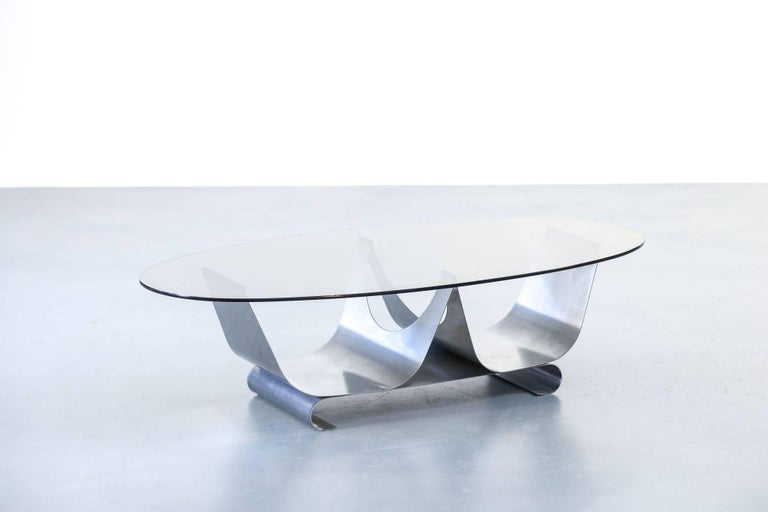 Mid-Century Modern Coffee Table Francois Monnet for Kappa, 1970 Oval Glass and Steel For Sale
