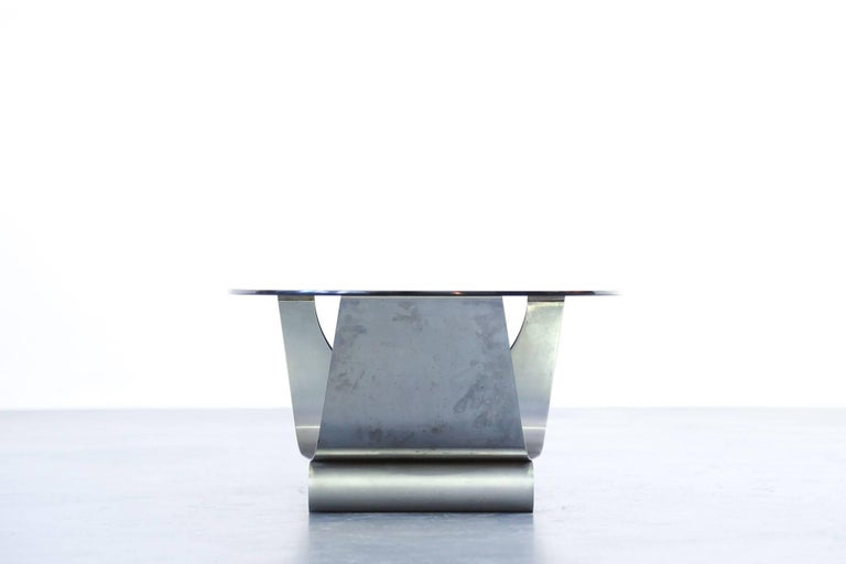 Coffee Table Francois Monnet for Kappa, 1970 Oval Glass and Steel For Sale 2