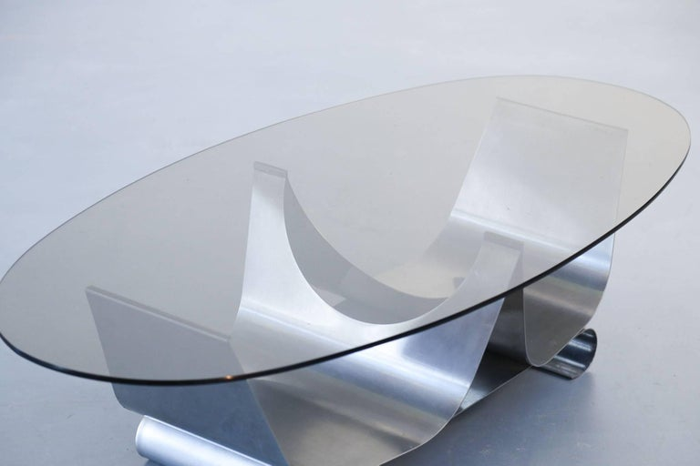 Late 20th Century Coffee Table Francois Monnet for Kappa, 1970 Oval Glass and Steel For Sale