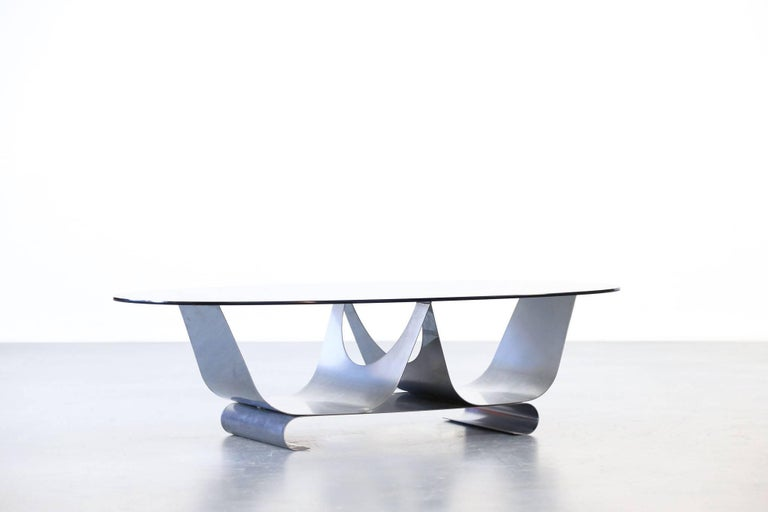 Oval coffee tale, 1970s Excellent condition for this rare table made of steel and glass.