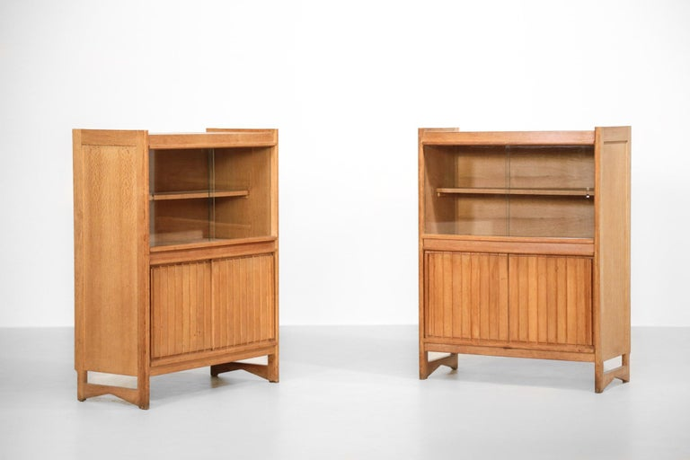 Oak Guillerme et Chambron Cabinets for Votre Maison, 1960s, Set of Two For Sale