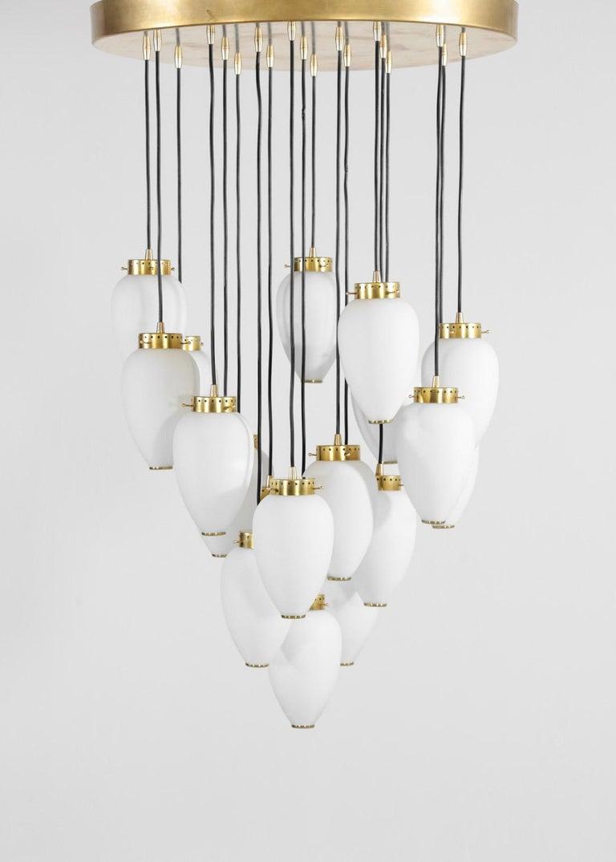 Mid-Century Modern Large Modern Suspension, Hans Agne Jakobsson Style, 19 Lights For Sale
