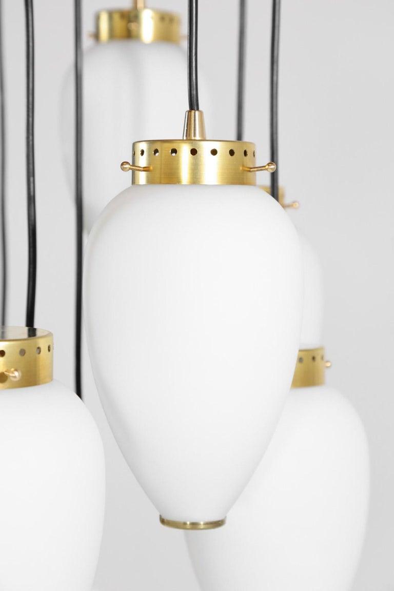 Brass Large Modern Suspension, Hans Agne Jakobsson Style, 19 Lights For Sale