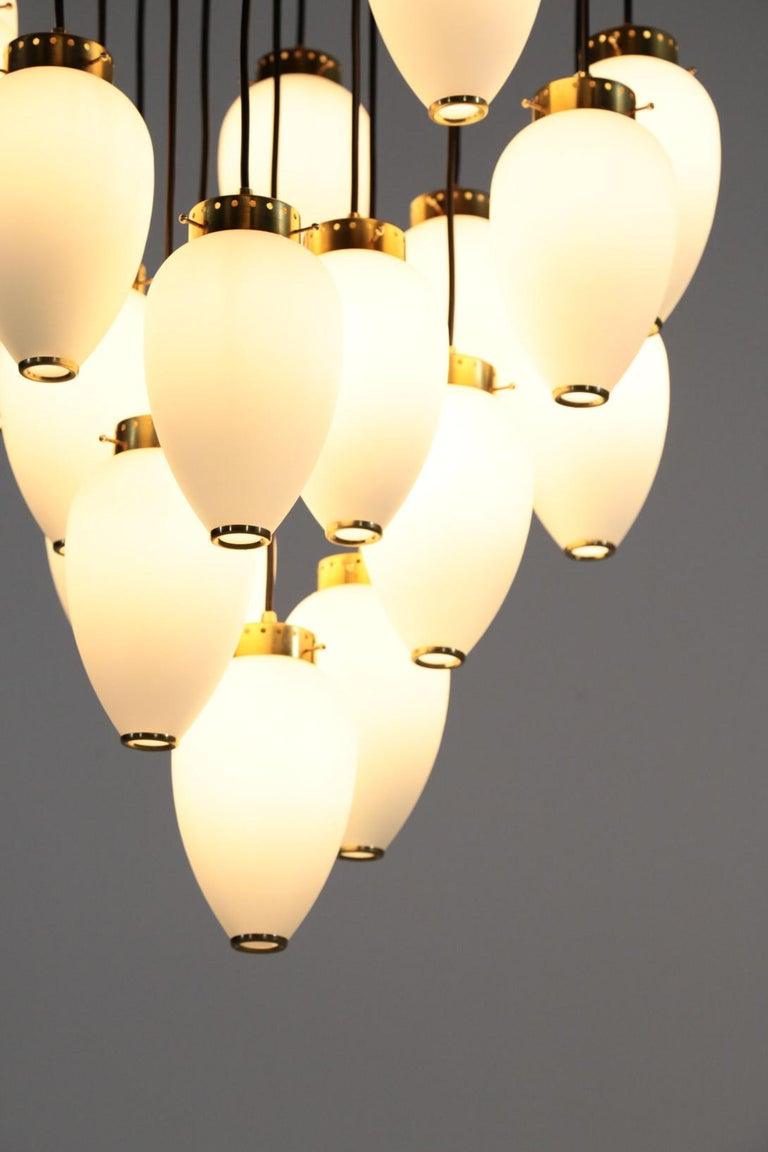European Large Modern Suspension, Hans Agne Jakobsson Style, 19 Lights For Sale