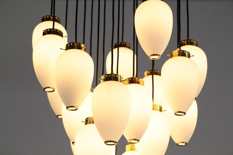 Contemporary Large Modern Suspension, Hans Agne Jakobsson Style, 19 Lights For Sale