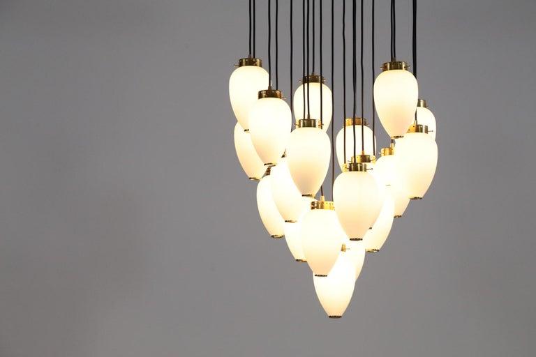 Large Modern Suspension, Hans Agne Jakobsson Style, 19 Lights For Sale 1