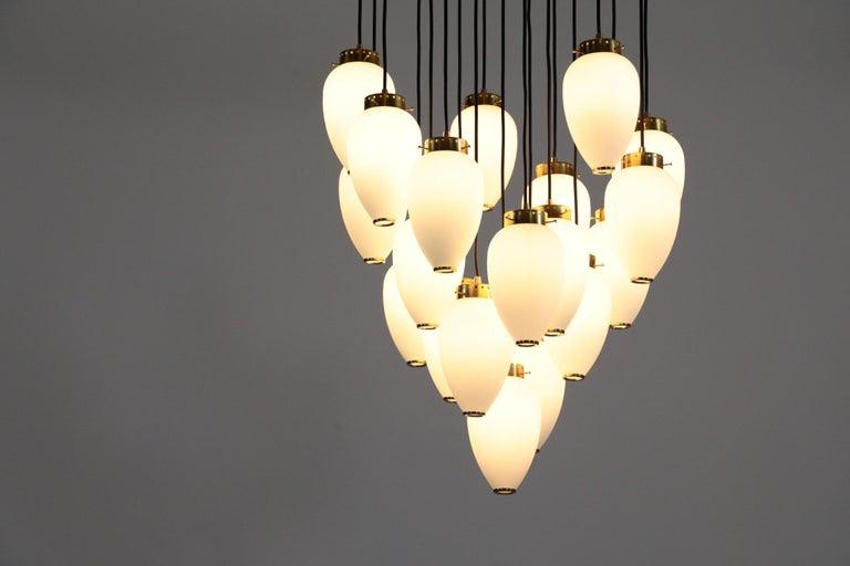 Large Modern Suspension, Hans Agne Jakobsson Style, 19 Lights For Sale 2