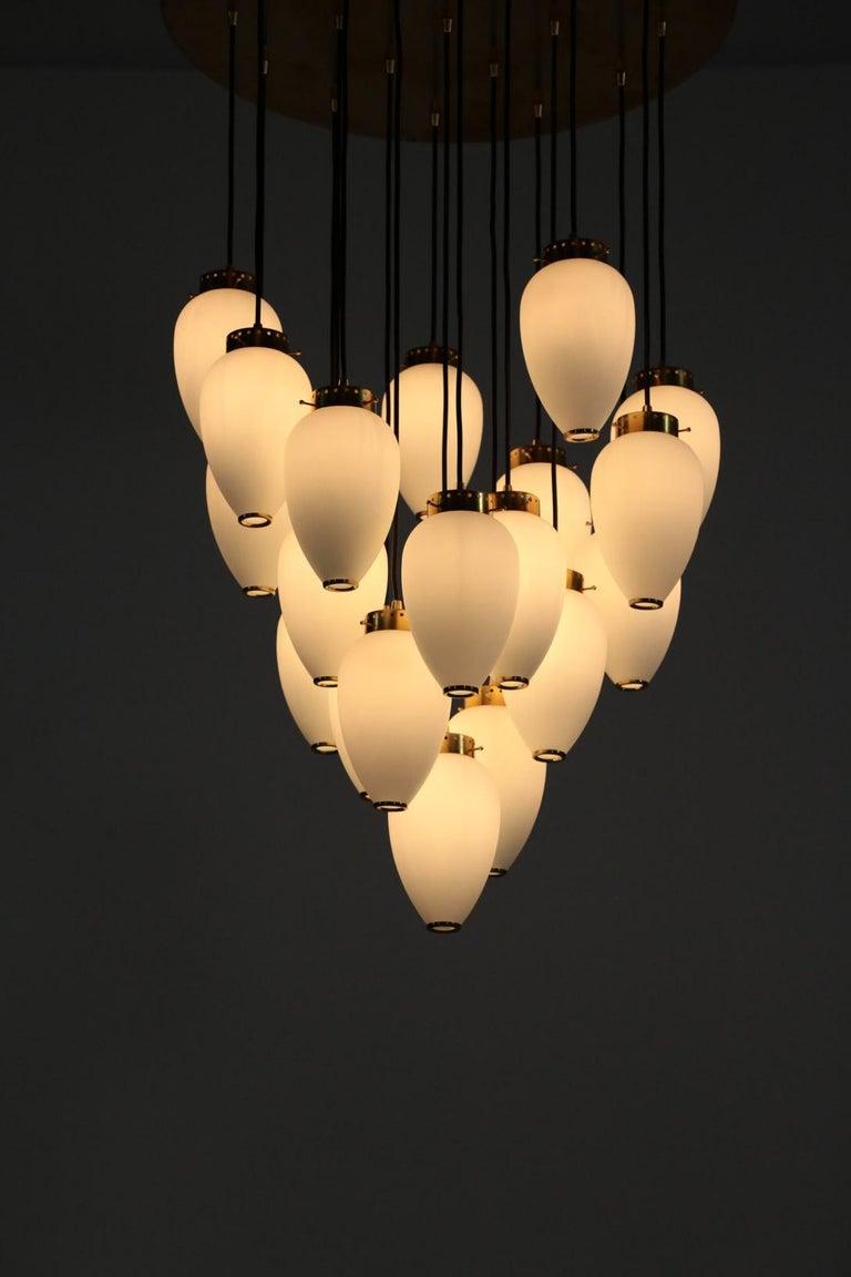 Large Modern Suspension, Hans Agne Jakobsson Style, 19 Lights For Sale 3