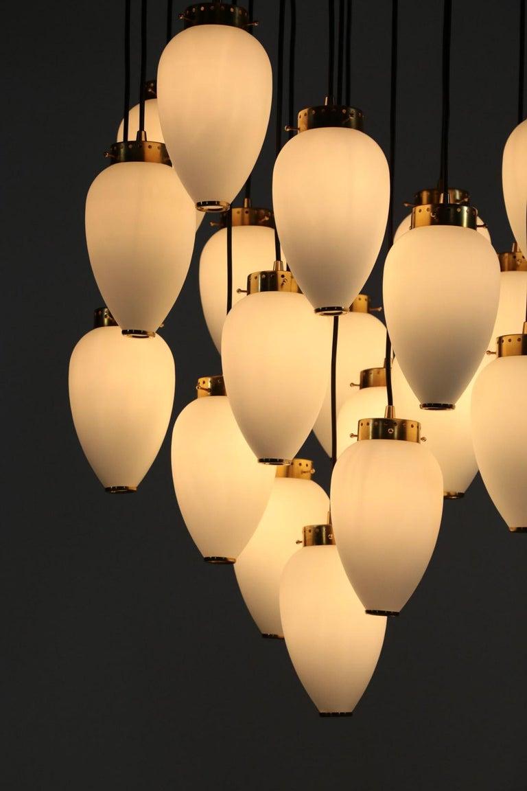 Large Modern Suspension, Hans Agne Jakobsson Style, 19 Lights For Sale 4