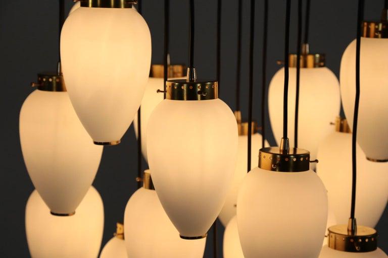 Large Modern Suspension, Hans Agne Jakobsson Style, 19 Lights For Sale 5