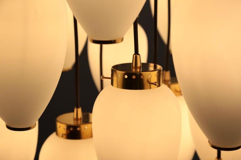 Large Modern Suspension, Hans Agne Jakobsson Style, 19 Lights For Sale 7