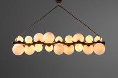 Large Italian Chandelier 18 Lights, Opaline Glasses