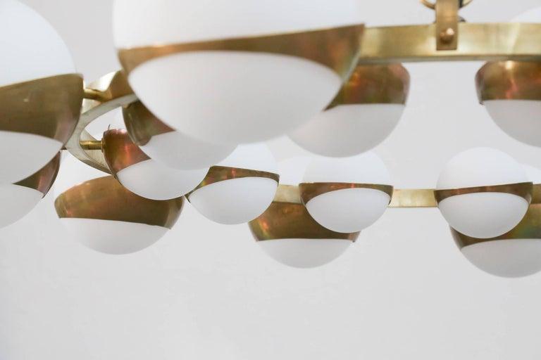 Mid-Century Modern Style of Stilnovo Italian Chandelier Opalines Brass Large Sculptural Modernist For Sale